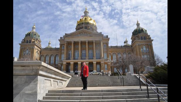 IFA President on the steps of the State Capitol in Des Moines.