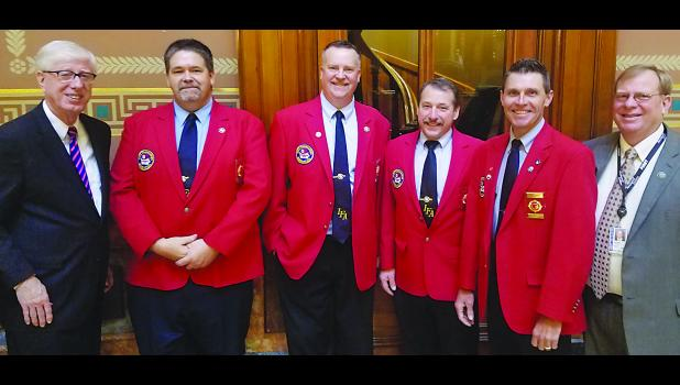 The IFA was out in full force when the Iowa Legislature convened the second week of April. Pictured from left to right are: Iowa Attorney General Tom Miller, IFA second vice-president James Shutts, IFA President Bill Halleran, IFA first-vice president Marv Trimble, IFA Past President Mark McNees and State Senator Michael Breitbach of Strawberry Point, the assistant majority leader.