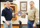 IFA President Al Esch (right) presented an IFA flag to Humboldt Fire Chief Tony Hosford. The flag is a thank you for hosting the IFA business meeting on Sunday, Jan. 19.